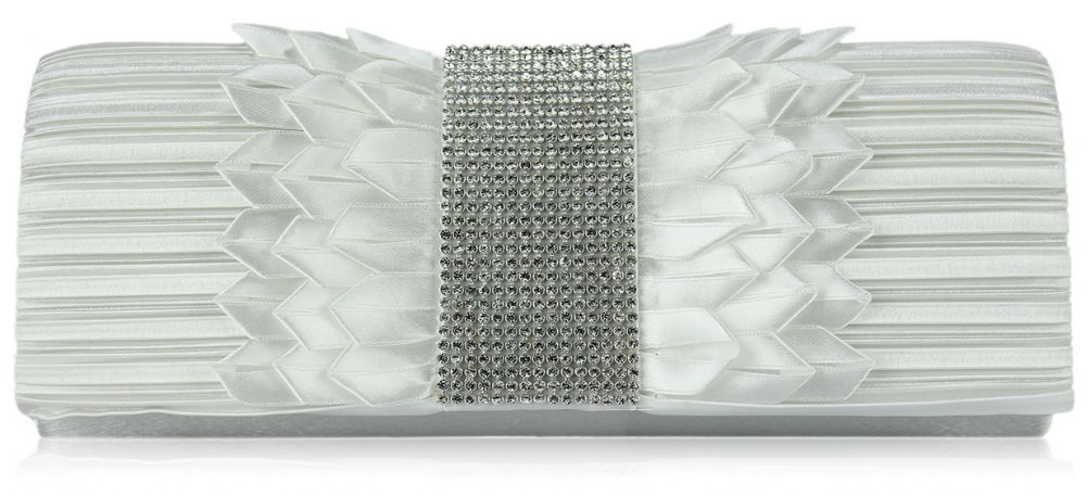 Bella Ivory Ruched Satin Clutch Bag With Diamonte Trim